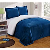 Chezmoi Collection Micromink Sherpa Reversible Throw Blanket (King, Navy)