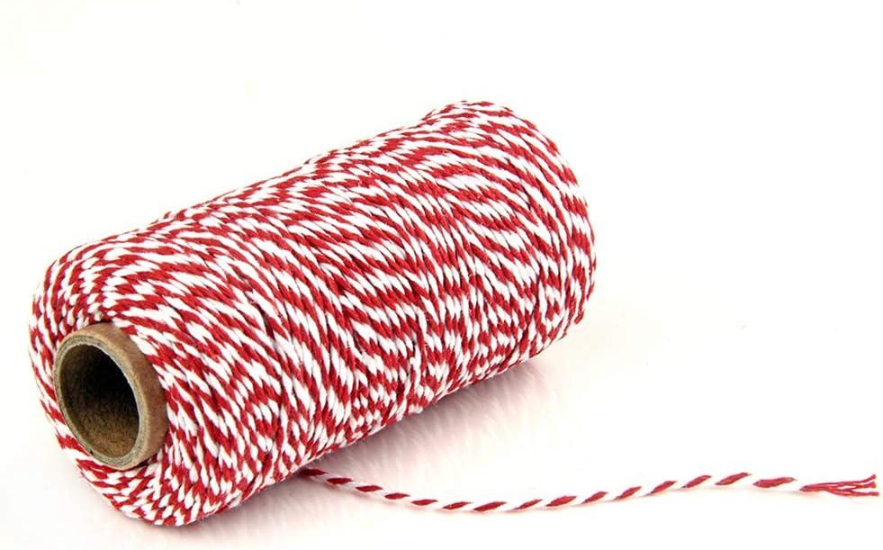 Geschenkverpackung sch/öne DIY Handwerk Free Size gewickelt zweifarbig traditionelle B/äckerschnur multifunktional Rot//Wei/ß 100 m L/änge modisch Dekoration UIYU zweifarbige Baumwollschnur