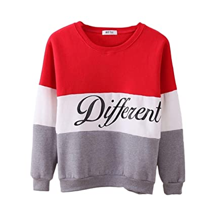 spyman Fashion Letter Different Printed Women Fleeve Hoodies 2018 Spring Long Sleeve Sweatshirt Patchwork O-Neck Pullovers Sudaderas, 1, L, China at Amazon ...