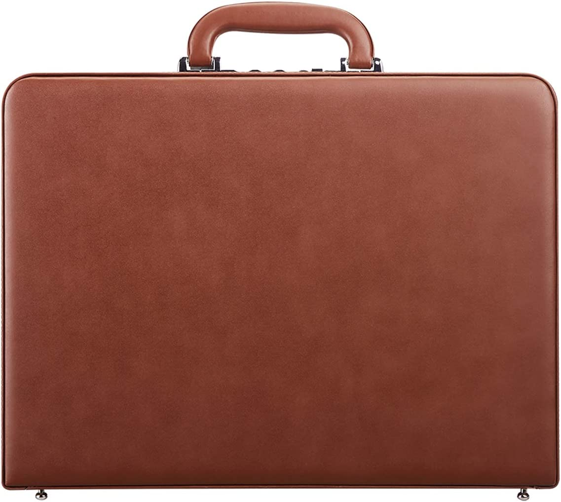 Hard Attache Briefcases for Men & Women/Bonded Leather Laptop Brief Cases with Combination Locks - Brown