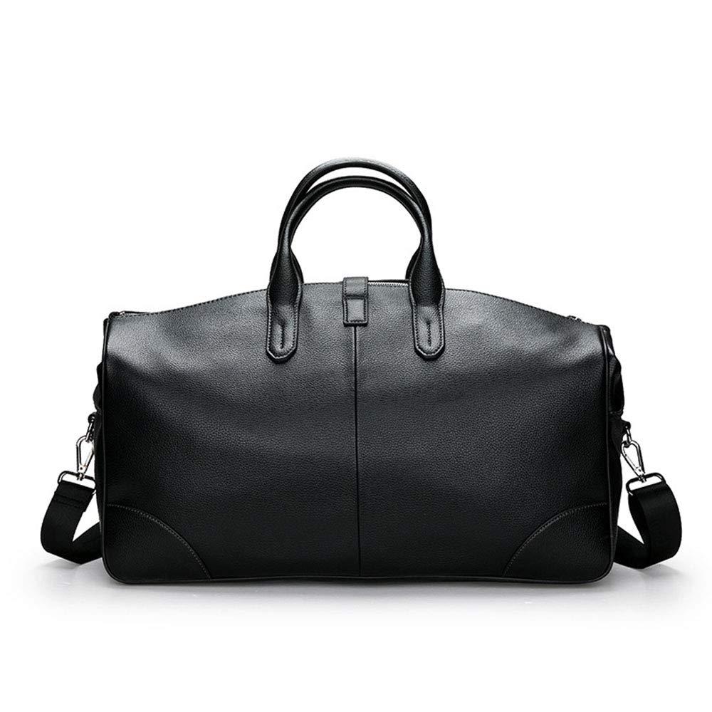スタイリッシュなシンプルさメンズ荷物バッグビジネスPU大容量ショルダーメッセンジャーバッグ週末のショッピングバッグ 旅行用ハンドバッグ (色 : ブラック)  ブラック B07QDW7Q6R