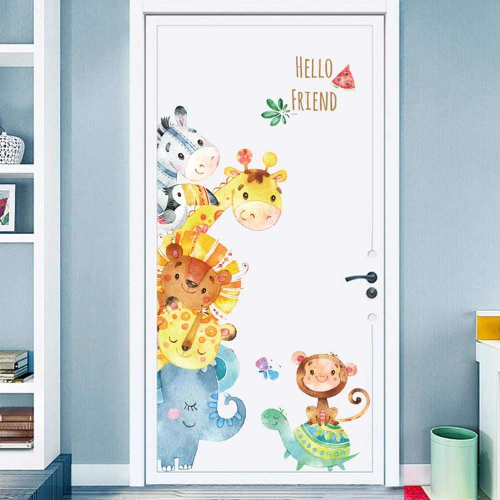 Cartoon Animals Wall Stickers DIY Children Mural Decals for Kids Rooms Baby  Bedroom Wardrobe Door...