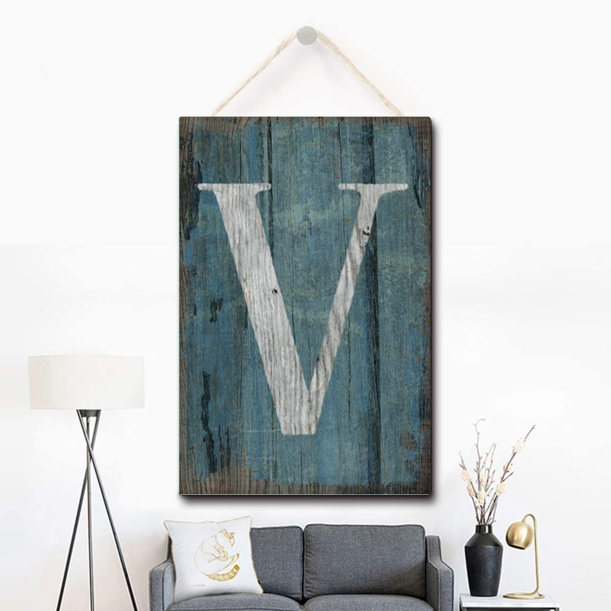 Puernash Wooden Hanging Sign Letter V Wood Sign 8 X 12 Inches