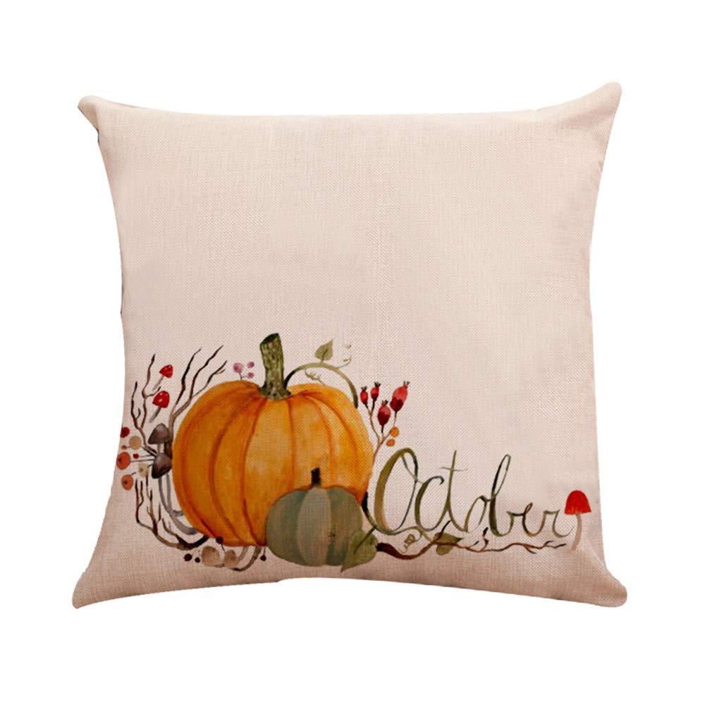 CHIDY Halloween Pumpkin Cushion Covers Fall Farmhouse Thanksgiving Home Decor for Sofa Bedroom Car 18 x 18 inch(E,One Size)