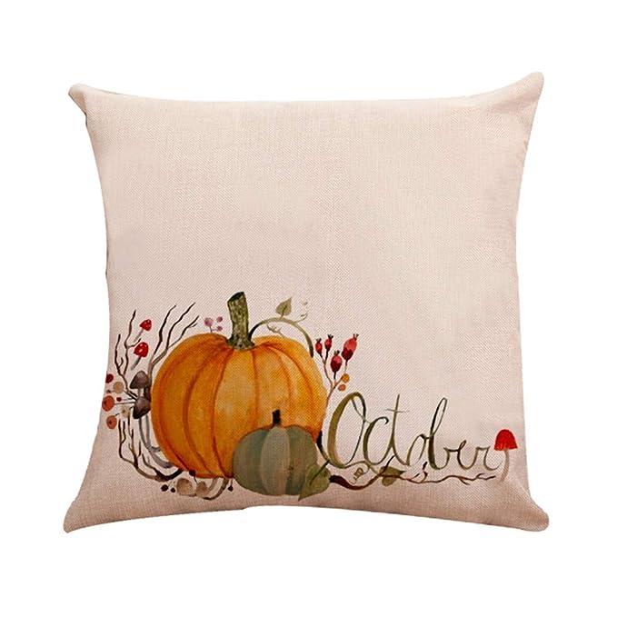 JiaMeng Funda de cojín de Almohada, Cojín de Calabaza de Halloween Almohada Cuadrada Decorativas para el hogar: Amazon.es: Ropa y accesorios