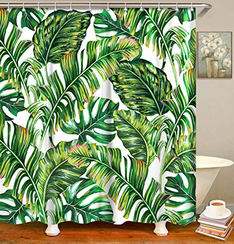 Palm Leaf Shower Curtain Set with 12 Hooks 70.8 x 70.8 inches