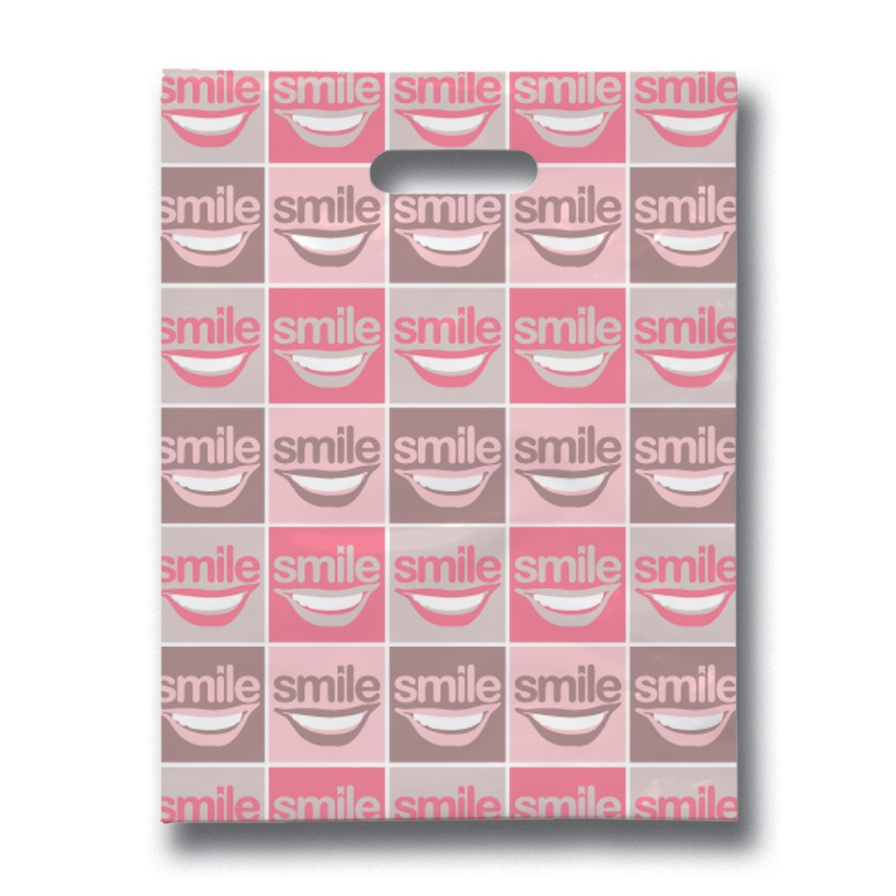 Practicon 11096107 All Smiles Scatter Print Bags, 9'' x 12'' (Pack of 100)
