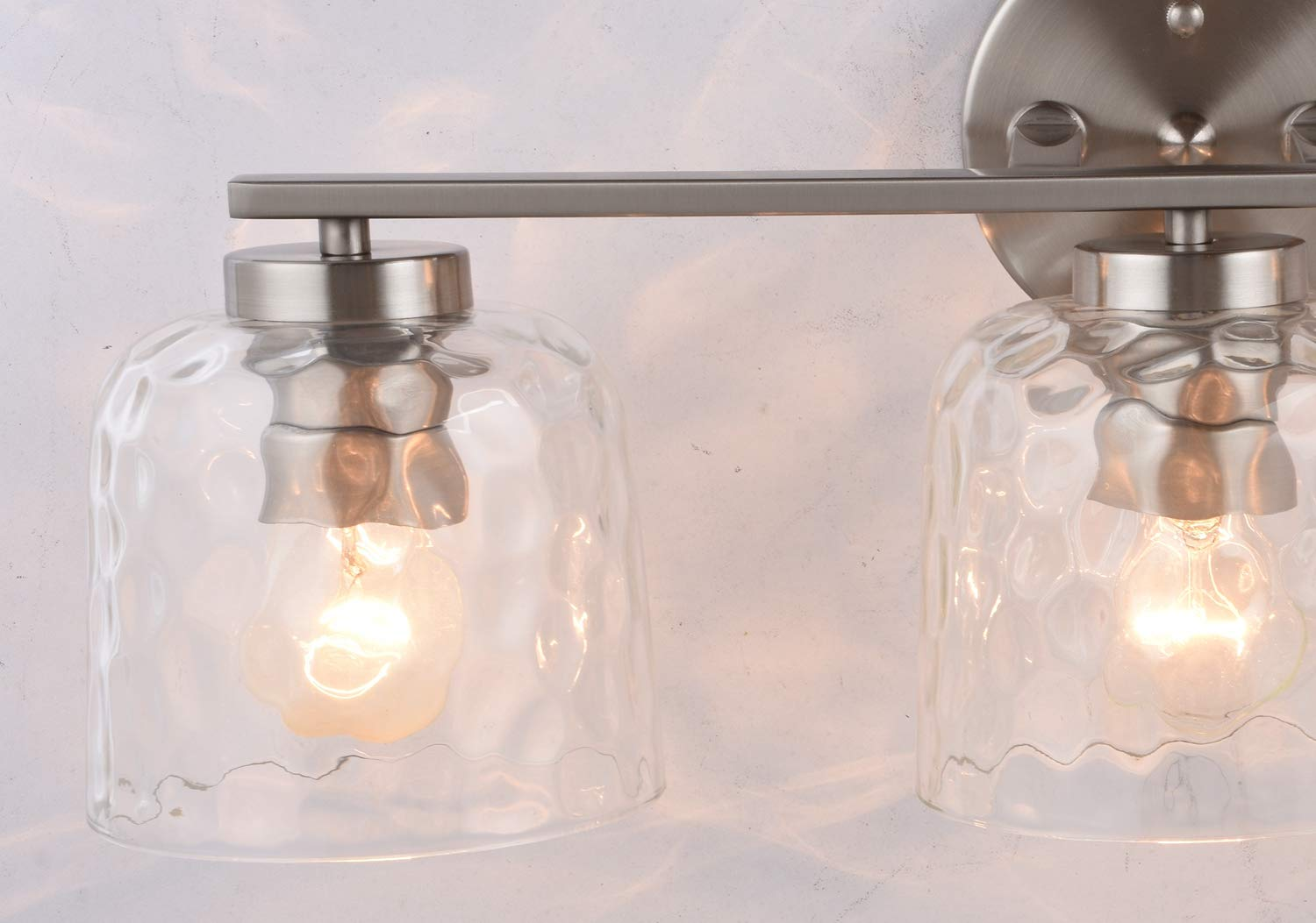 Alice House 20'' Vanity Lights with Hammered Glass, 3 Light Wall Lighting, Brushed Nickel Bathroom Lights Over Mirror, Bathroom Lighting AL6091-W3 by ALICE HOUSE (Image #6)