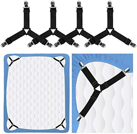 8PCS Triangle Bed Sheet Fasteners,Adjustable Triangle Sheet Straps Suspenders Fastener Grippers Corner Holder for King Queen Twin Size,Mattress Covers Sofa Cushion