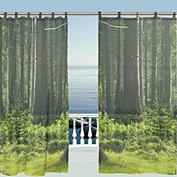 ALAZA Window Curtain Sheer Panels,Nature Landscape Green Forest Tree  Leaves,Door Window Treatments Part 65