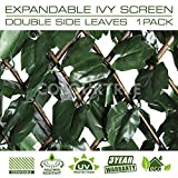 ColourTree Expandable Faux Artificial Ivy Trellis Fence Screen Privacy Screen Wal Screen - Commercial Grade 150 GSM - Heavy Duty - 3 Years Warranty (1, Double Sided Leaves)