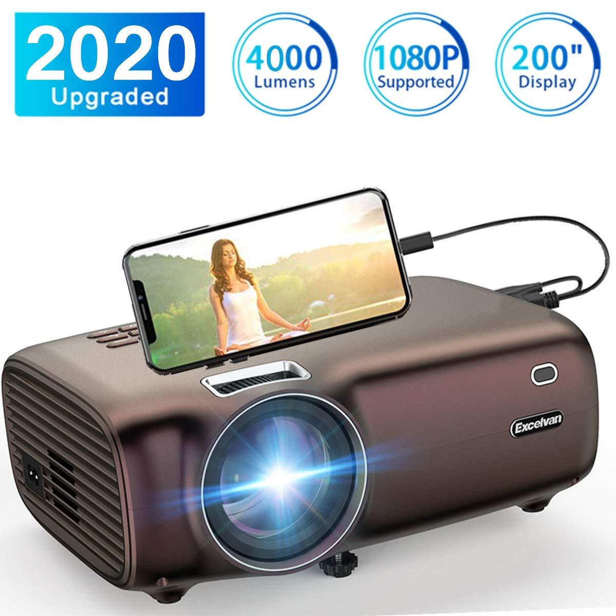 Proyector Excelvan, 1080P Proyector 4000 lúmenes Proyector Mini HD para Entretenimiento en el hogar Conectar con computadora portátil TV Box Teléfono ...