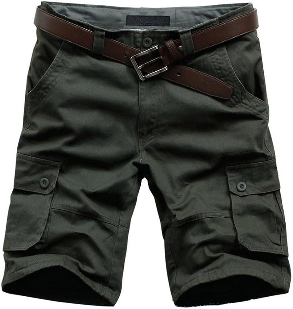 AUSZOSLT Men's Plus Size Relaxed Fit Casual Cotton Cargo Shorts