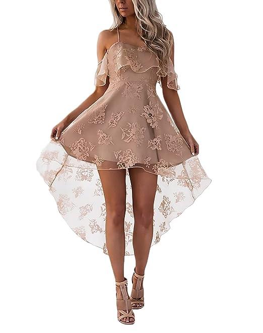 Lannister Fashion Mujer Vestidos De Fiesta Cortos Elegantes Verano Ropa Fiesta Encaje Malla Hombro Descubierto Cuello Barco Volantes Vestido Años 50 A-Line ...