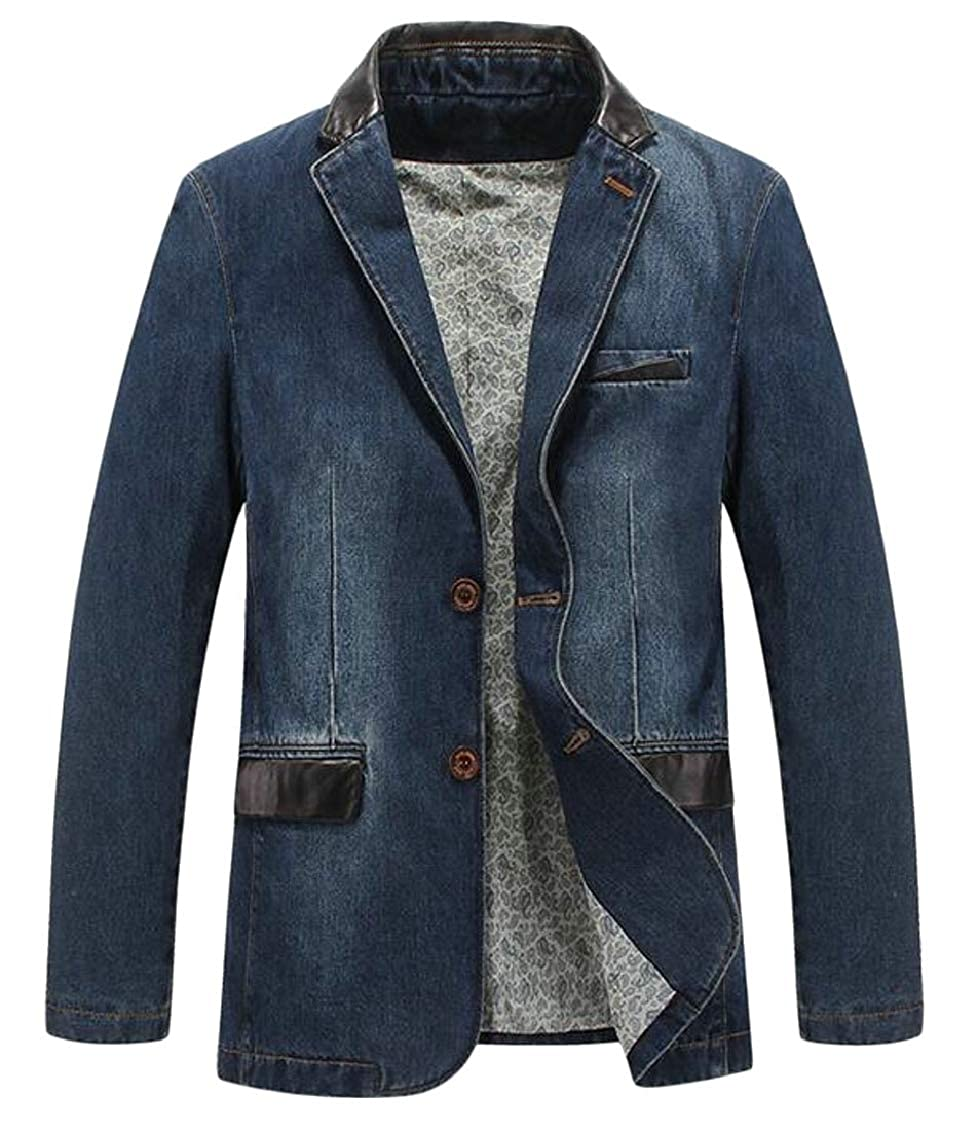 Wopop Mens Classic Fit Outerwear Single Breasted Denim Faded Blazer Jacket