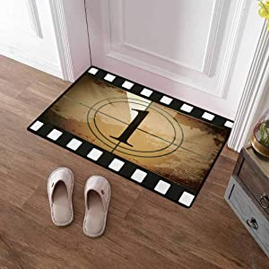 Front Door Mat Movie Theater Absorbent Floor Mats Outdoor Rug Grunge Countdown Frame with The Number 1 in a Circle Film Strip for Indoor Bathroom Decor Pale Brown Black White 24x48 Inch