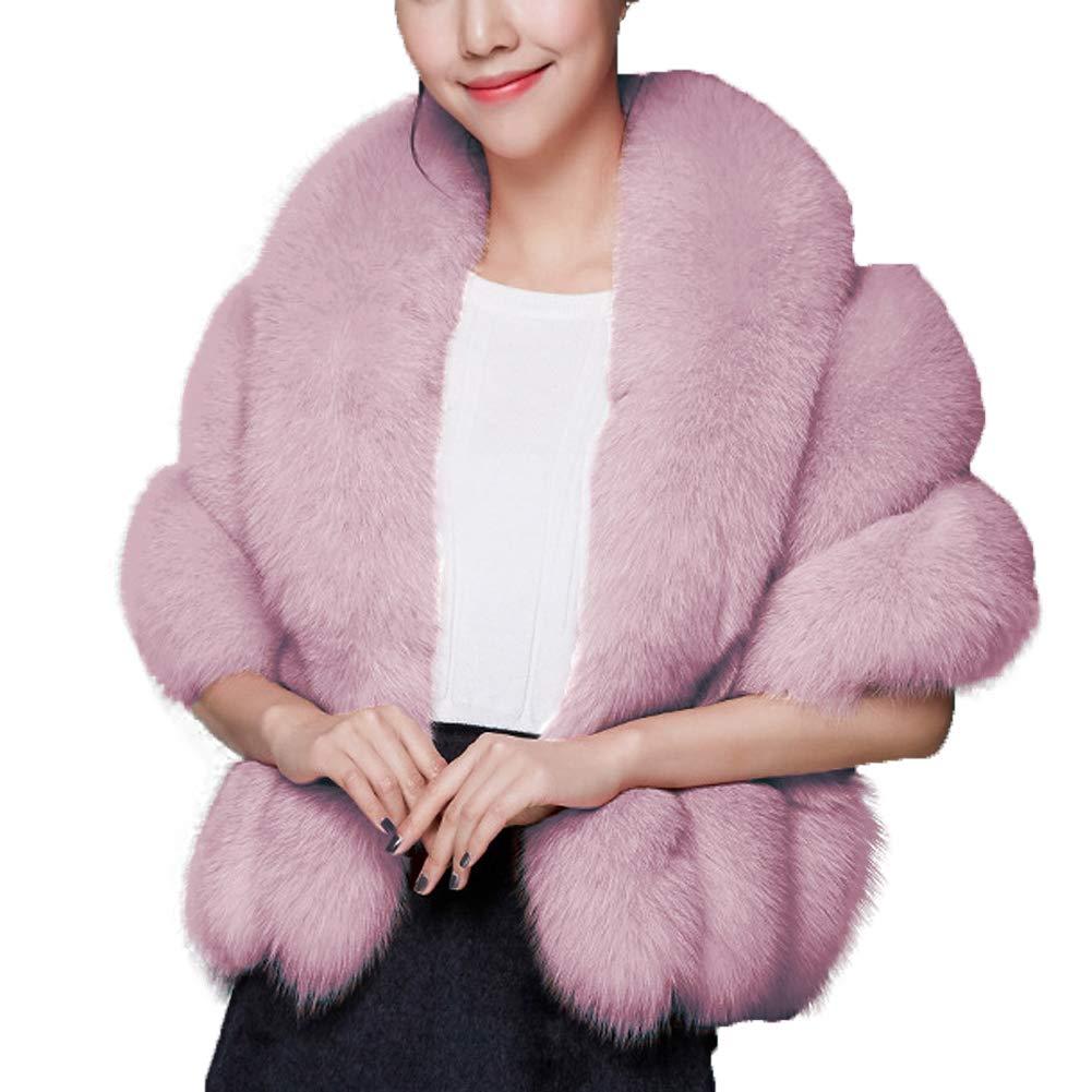 Caracilia Luxury Faux Fur Coat Wedding Shawl Cape for Party/Show fenzi2 CA89