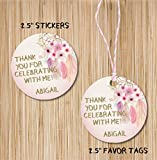 Pastel Dreamcatcher Feather Boho Birthday Party Stickers or Favor Tags