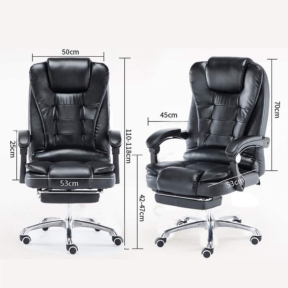 PARTAS dator kontorsstol massage läderstol, teleskopisk fotstödsstol lämplig för stillasittande – ergonomisk design (färg: Brun) Svart