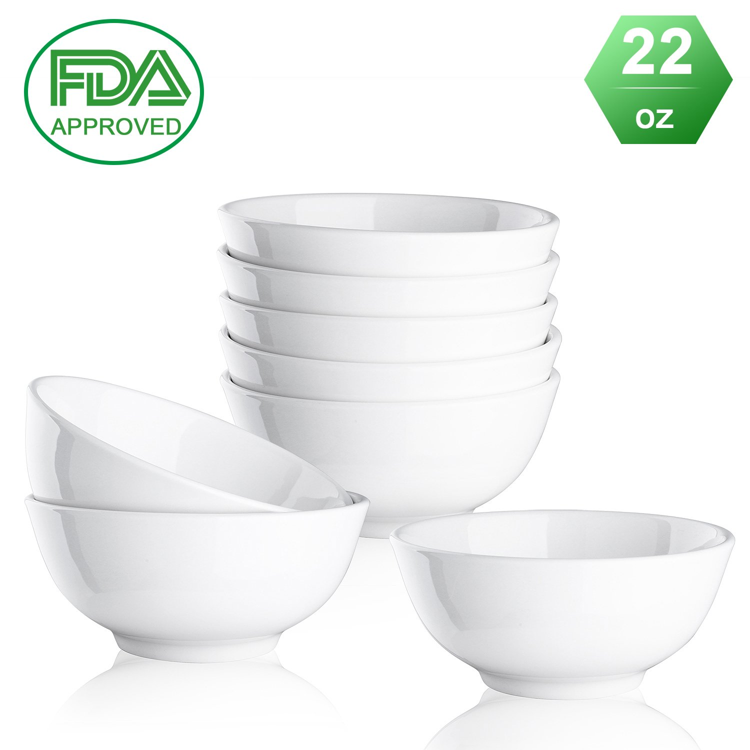 Porcelain bowls Ceramic bowl - 22 Ounce for Cereal, Salad and Desserts, White, Set of 8 Mandydov