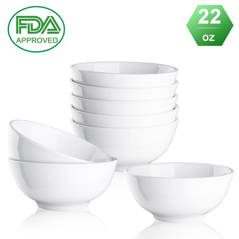 Porcelain bowls Ceramic bowl - 22 Ounce for Cereal, Salad and Desserts, White, Set of 8