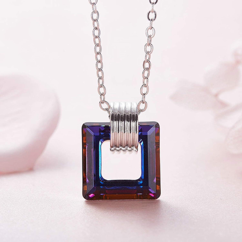 Aooaz Brass Necklace Womens Girls Square Pendant Necklaces Multicolor Anniversary Multicolor 40+6CM