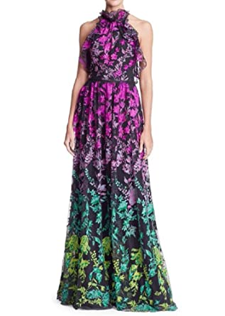 Marchesa Notte Women's Sleeveless Ombre Floral Embroidered Gown 16 Black at  Amazon Women's Clothing store: