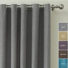 ChadMade HELMUT Collection Polyester Faux Linen Waffle Woven Blackout Insulated Thermal Curtain Panel Drape Nickel Grommet Grey 52Wx84L Inch (1 Panel)