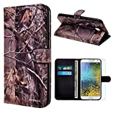 Samsung Galaxy E5 / E500 Case, INNOVAA Premium Leather Wallet Case with STAND Flip Cover W/ Free Screen Protector & Stylus Pen - Woods