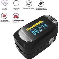 TECHVIDA Oxímetro De Pinza De Dedo, Pulso Monitor de Oxigenación Sanguínea, Monitor Saturación De Oxígeno con Pulso De Dedo, Aparato De Frecuencia Cardíaca De Monitor De Sueño