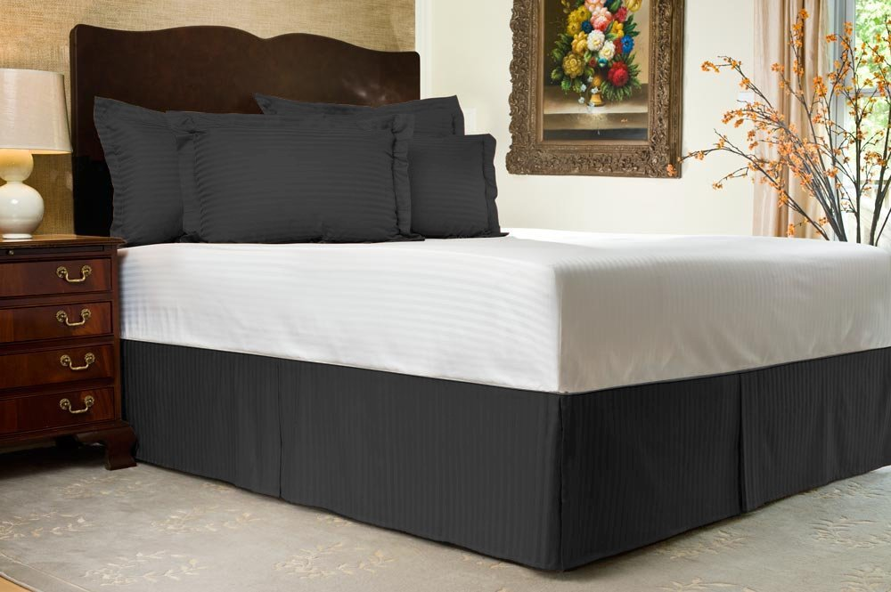 Lushness_Linen Hotel Collection 800TC Bedskirt 24'' Drop Length 100% Egyptian Cotton Twin XL Size Black Stripe