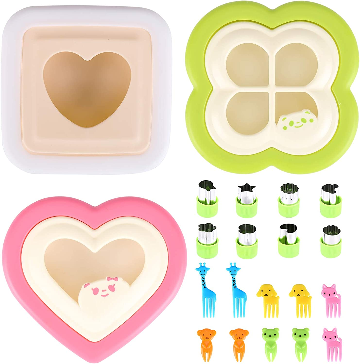 Sandwich Cutter and Sealer,21 piece set,Fun Sandwich Cutters for Kids,Cut and Seal Decruster Sandwich Maker Shapes,Includes Fruit and Vegetable Cutters Food Picks,Boys and Girls Easy to Use (green)