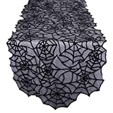 "AerWo 20""×80"" Polyester Lace Table Runner, Large Black Spider Web Table Runner for Halloween Dinner Parties and Scary Movie Nights Table Decoration"
