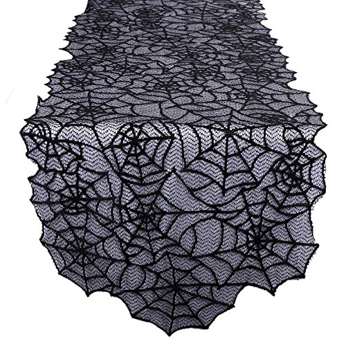 Halloween Table Runners (OurWarm Black Lace Spider Web Table Runner for Halloween Parties, Décor, Dinners, 20 by 80-Inch)