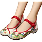 Avacostume Womens Flower Painting Flats Mary Jane Qipao Dress Shoes