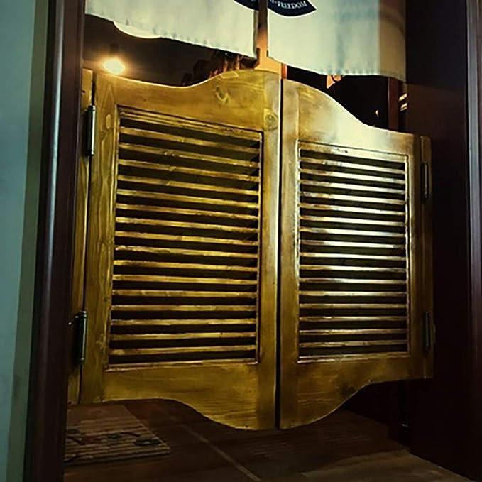 Puertas batientes Puertas de café Puerta de rejilla abierta de madera maciza retro de dos vías, puerta de salón de bar que incluye todas las bisagras necesarias-Tamaño personalizado (Tamaño:90cmx90c: Amazon.es: Hogar