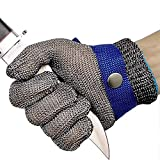 Cut Resistant Gloves Stainless Steel Wire Metal Mesh Butcher Safety Work Gloves for Cutting, Slicing Chopping and Peeling (Large)
