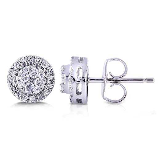 Image result for Round Cluster Diamond Stud Earrings 1/4 Carat (ctw) in 10k White Gold