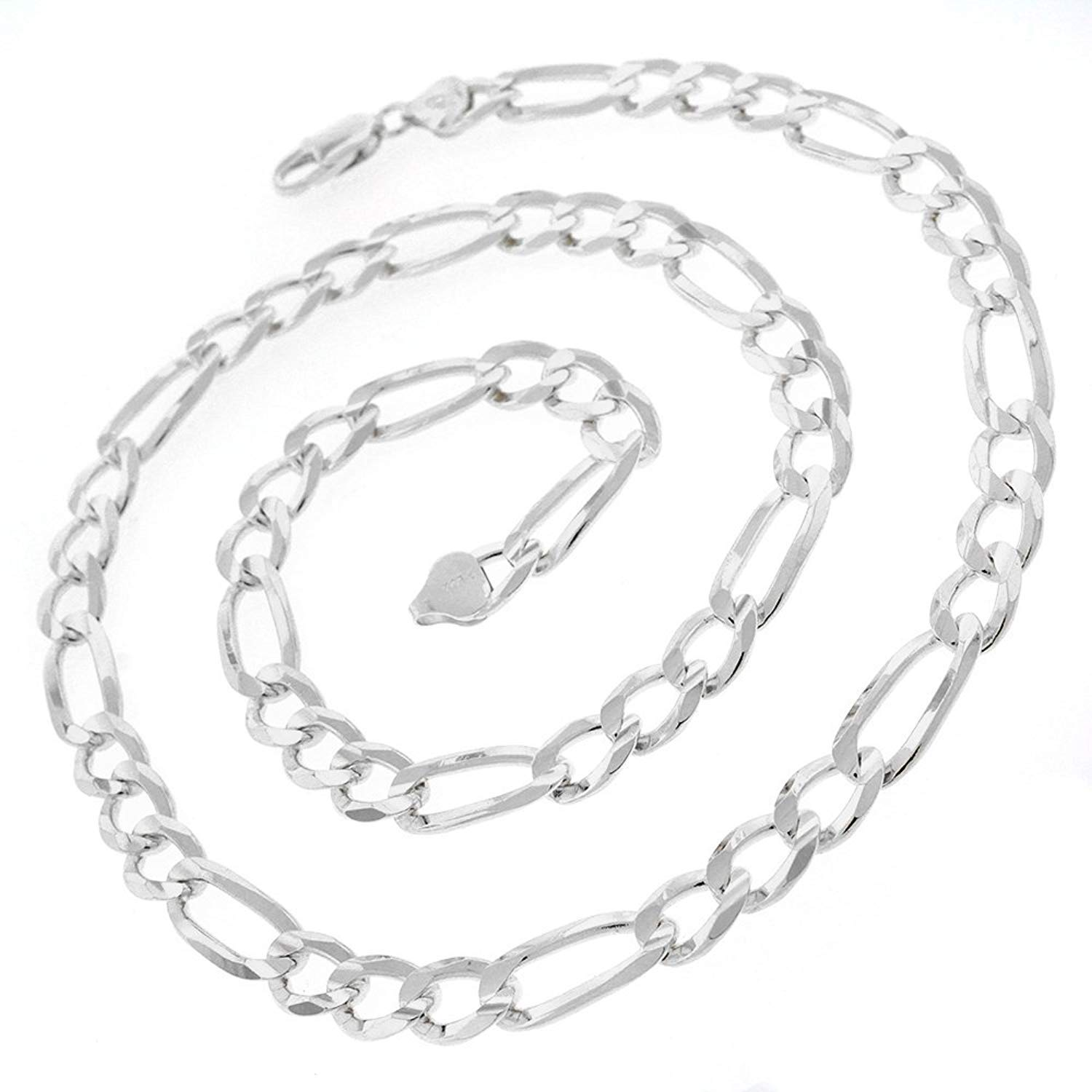 Patented ITProLux 8.5mm Figaro Link 20-30 Elite Anti-Tarnish 20 Made In Italy Solid Necklace Chain 925 Sterling Silver