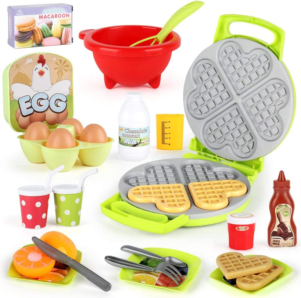 LiDi RC 27 Pack Waffle Play Food Toys for Toddlers ,Kitchen Sets for Kids,New Sprouts Waffle Time Variety Toys Gift for Kid Children ,Early Educational Learning Game for Age 3 4 5 6 7 8 Boys Girls