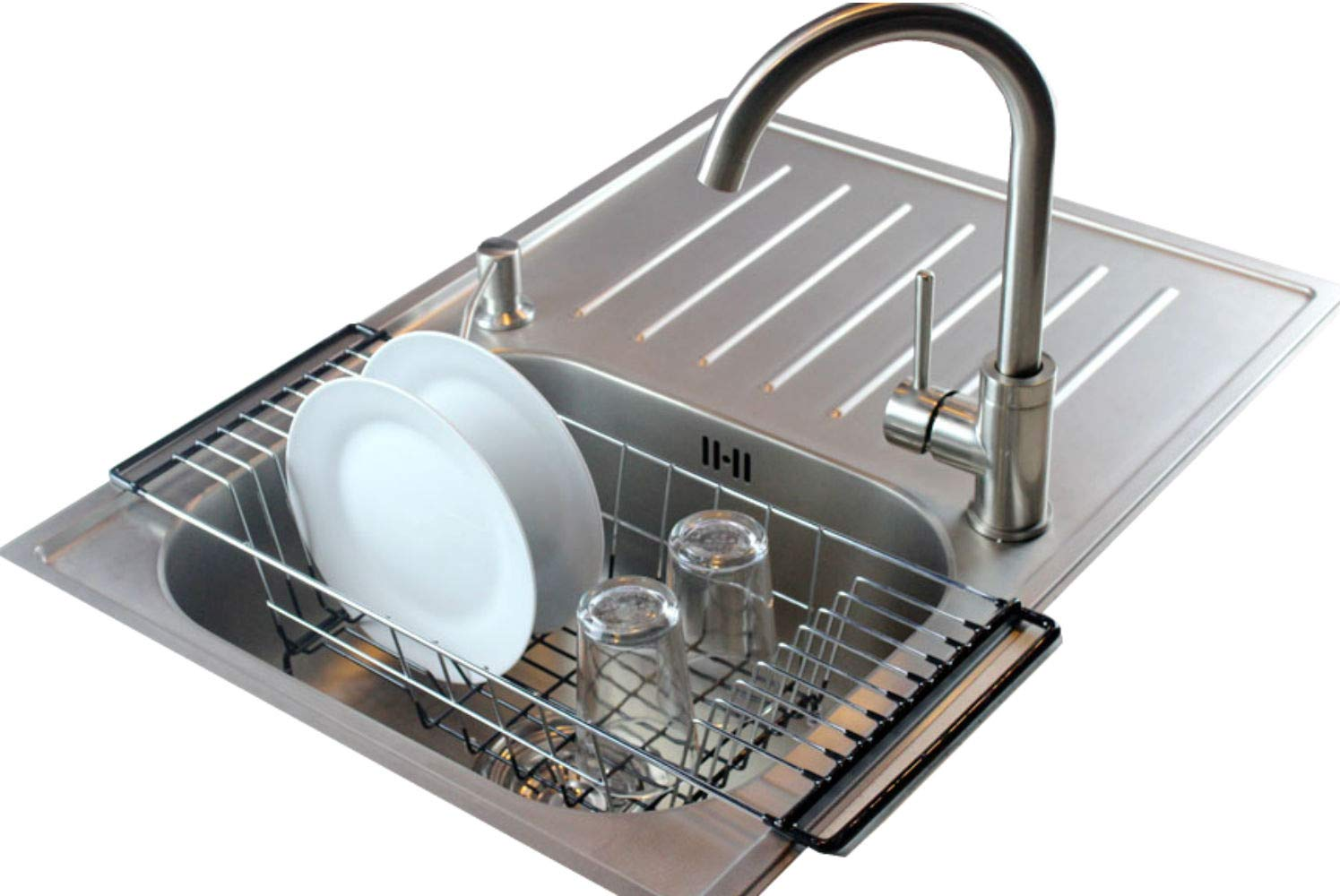 Neat-O Over-The-Sink Kitchen Dish Drainer Rack, Durable Chrome-plated Steel (Black)