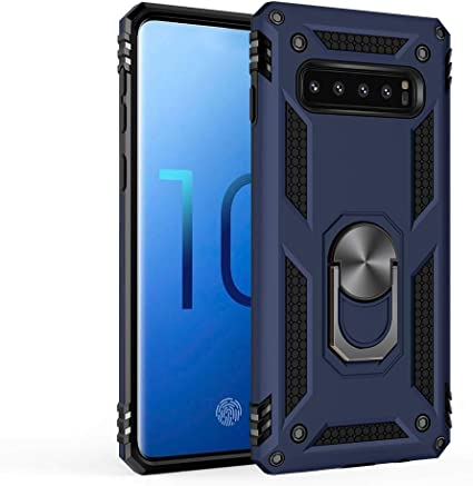 for Samsung Galaxy S10|S10e|S10 Plus|S10 5G case Hard Shell Cover Holder 360/°Rotating Ring Grip Cases for Magnetic Car Mount S10, Blue