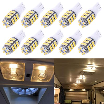 Qoope - Pack of 10 - Warm White T10 921 194 42-SMD 12V LED Lights Bulbs for RV Trailer Lighting Backup Reverse Light Side Marker Light: Automotive