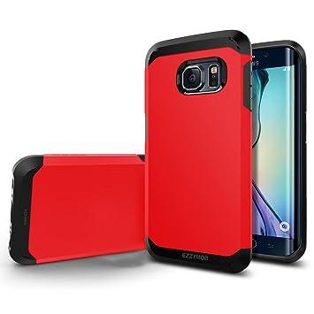 Samsung Galaxy S6 Edge Carcasa, EZZYMOB® Carcasa para Galaxy S6 Edge, resistente a golpes, antiarañazos, Armor Case para Samsung Galaxy S6 Edge., rojo