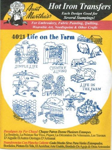 Life on the Farm Aunt Martha's Hot Iron Embroidery Transfer