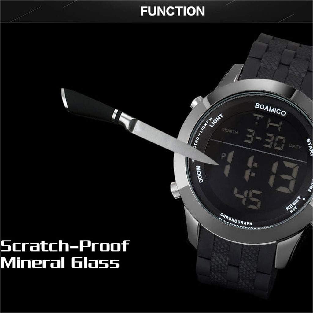 WPCBAA 3ATM Le Sport Montres Hommes Montres numériques Militaire Montre Bracelet en Caoutchouc Affichage LED Montres-Bracelets Cadeau reloj Hombre (Couleur : Bleu) Bleu