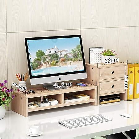 Soporte de monitor de escritorio Riser, Tv pc pantalla de computadora portátil Soporte de monitor de computadora con organizador de almacenamiento para oficina en el hogar Organizador de escritorio de madera-A: Amazon.es: