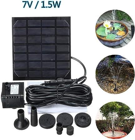 QXTT Bomba Solar para Estanque 1.5W Fuente De Jardín Solar con 3 Boquillas Panel Solar para Jardín Piscina Estanque Acuario Fuente Pequeños Estanques: Amazon.es: Hogar