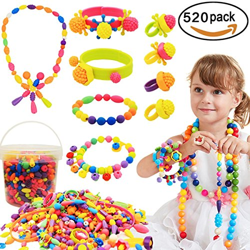 520 Pcs Arty Snap Pop Beads, LAIER DIY Necklace Bracelet Creative Jewelry Kit, Idea Birthday & Christmas Gifts Toys for Kids Toddlers Girls