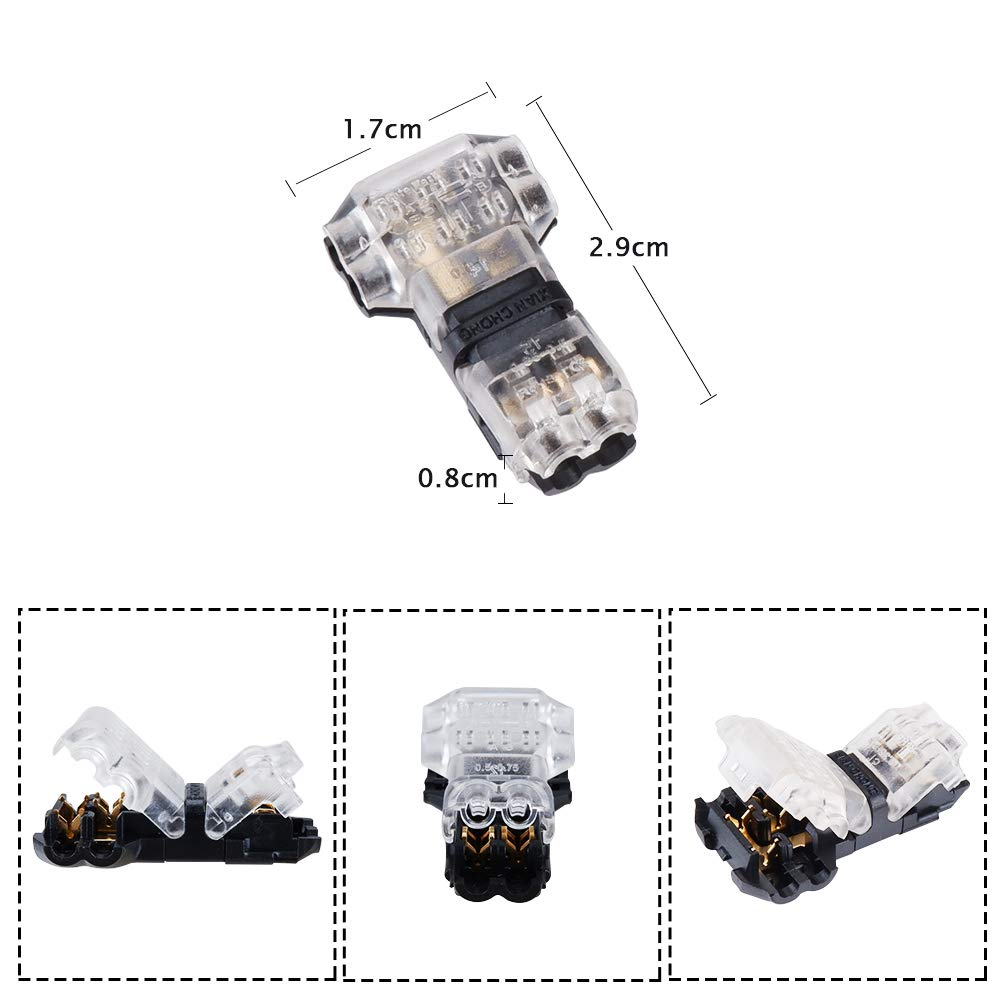 MUYI - 12 Pack Wire Connector 2 Pin T Tap Crimp Style Low Voltage Solderless Connector for 20/22/24 AWG Cable